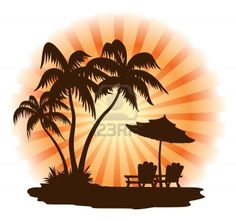 Summer landscape: sunset, palm, chairs and umbrella