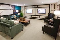 Why enjoy one game when you can watch two in this finished basement! (Toll Brothers at Mews at Laurel Creek, NJ)