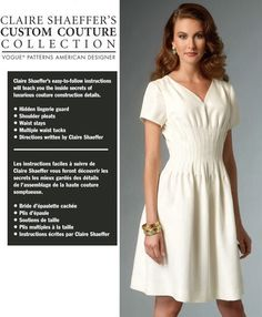 Items similar to Vogue UNCUT Claire Shaeffer Custom Couture Stylish Office to Evening V Neckline Tuck Details Flared Dress Size Sewing Pattern on Etsy Vogue Patterns, Silk Organza, Silk Chiffon, Dress Sewing Patterns, Clothing Patterns, Miss Dress, Fashion Catalogue, Lingerie, Couture Collection