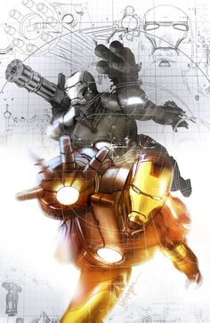Iron Man & War Machine by evnaccd Marvel Comics, Marvel Art, Marvel Heroes, Captain Marvel, Comics Universe, Marvel Cinematic Universe, Comic Book Characters, Marvel Characters, Stan Lee