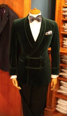 Green Velvet Smoking Jacket (Vintage)