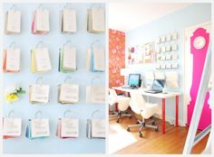 Office! -- wall paint color swatches -- pink grandfather clock decal on door