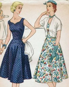 Vintage 1955 McCall's 3197 Sewing Pattern Misses' Dress and Jacket for Half Sizes Size 16-1/2 Bust 37