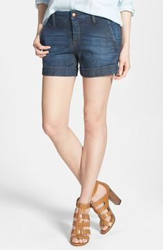 !iT Collective Cuff Stretch Denim Trouser Shorts (Moonlight) available at #Nordstrom