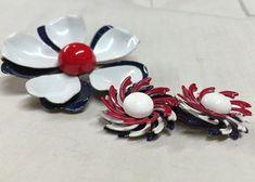 Vintage Enamel Brooch and Earring Set Red by RescuedOfferings