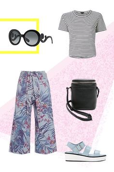 If your office allows you to get a little creative with your workwear, these printed Suno wide-legs belong in your rotation, stat. Mix them up with an unexpected but neutral print, like this striped tee, and strap on some flatform sandals and a structured crossbody for a smooth commute. Finish off the funky look with equally quirky sunglasses, like these round stunners from Prada.