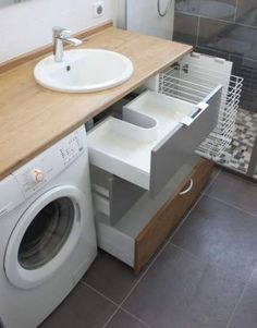 waschmaschine im badezimmer waschraum kombination # zu washing machine in the bathroom washroom combination # too furniture # furniture # Small Laundry Rooms, Laundry In Bathroom, Bathroom Shelves, Bathroom Storage, Laundry Storage, Shower Shelves, Bathroom Cabinets, Ikea Laundry, Bathroom Mirrors