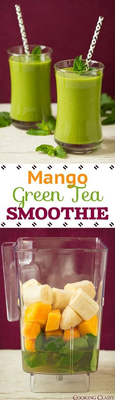 Mango Green Tea Smoothie - vibrant, refreshing and so good!! With the benefits of green tea I'll be making this one all the time! #weightlosssmoothiesrecipes