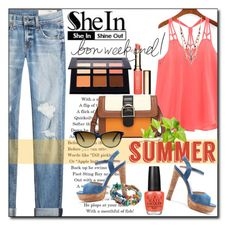 """""""Summer Weekend"""" by gorgeautiful ❤ liked on Polyvore featuring rag & bone, Anastasia, Betsey Johnson, Clarins, OPI, StreetStyle, denim, CasualChic, she and summer2016"""