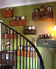Vintage  Camel Brown Upcycled Suitcase Luggage Wall Shelf  Repurposed Travel Inspired. $45.00, via Etsy.