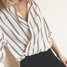 Gray & white striped button down for professional capsule wardrobe.