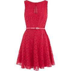 Oasis Lace Dress ($85) ❤ liked on Polyvore featuring dresses, vestidos, red, robes, vestiti, lace dress, key hole dress, red lace cocktail dress, lacy red dress and lace keyhole dress