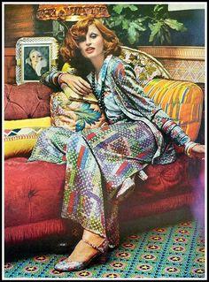 Apollonia van Ravenstein in colorful mosaic pattern three-piece ensemble by Missoni, photo by Kourken Pakchanian, Vogue, October 1, 1972