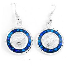 Mesoamerican AztecCalendar Dark Blue Opal Earrings JewelryTaxco Mexico #Handmade #AztecCalendar