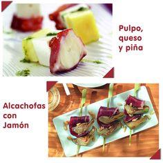 Para empezar la semana con energía y de forma saludable os traemos la receta de dos tapas sanas y muy fáciles de preparar, alcachofas con jamón y pincho de pulpo, queso y piña  Sólo tenéis que venir a por los ingredientes a Valle Real y disfrutar.