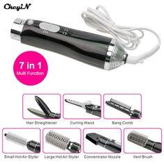 Ckeyin 7 en 1 multifunción cepillo de aire caliente styler de pelo eléctrico secador de pelo rizador de pelo conjunto/peinado alisado herramientas