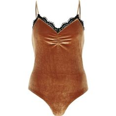 d1729fe8c7 River Island Dark orange velvet lace trim bodysuit ( 28) ❤ liked on Polyvore  featuring