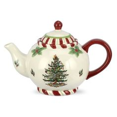 Spode Christmas Tree Peppermint Teapot .... with candy cane or peppermint stripe border on rim, foot and lid ... original Christmas tree pattern design dates from 1938, porcelain, UK