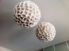 sculptural paper orb lights