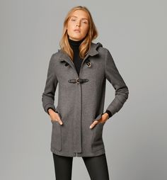 Tabulous Design- Beautiful grey Duffel Coat for ladies with black leather trim.