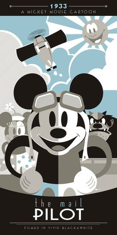 """Poster depicting Mickey Mouse in a classic cartoon short, """"The Mail Pilot. Minnie Mouse Drawing, Mickey Mouse Cartoon, Mickey Minnie Mouse, Disney Fan Art, Disney Love, Disney Magic, Walt Disney, Disney Cruise, Mickey Mouse Wallpaper"""