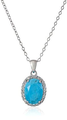 Sterling Silver Oval Turquoise and White Topaz Accent Chain Pendant Necklace 18 * Read more  at the image link. (This is an Amazon affiliate link and I receive a commission for the sales and I receive a commission for the sales)