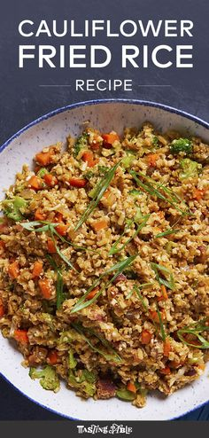 A quick and healthy version of fried rice with cauliflower rice, bacon and your choice of vegetables. #summer #summercooking #summerrecipes #healthy #healthyrecipes #friedrice #cauliflowerrice #easydinners #quickrecipes