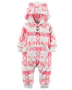 Carter's Baby Hooded Fleece Jumpsuit, Purple ** Special product just for you. See it now! : Baby clothes