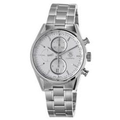 @Overstock - Ever since TAG Heuer has been established in 1860, it has been a leading producer of prestigious sports watches and chronographs. This timepiece features a stainless steel case, silver chronograph dial and a tachymeter scale displayed around the flange.http://www.overstock.com/Jewelry-Watches/Tag-Heuer-Mens-Carrera-Silver-Dial-Stainless-Steel-Automatic-Watch/6661358/product.html?CID=214117 $4,120.99