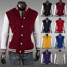 Mens Uniform Coat Outwear College Casual Letterman Baseball Varsity Jacket  I0724. Chaquetas UniversitariasUniversitariosRopa De ... ae92e014b7b7d