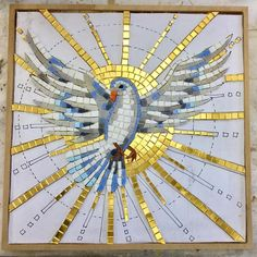 """""""The Holy Spirit descended on Him in the form of a Dove"""". Mosaic Animals, Mosaic Birds, Mosaic Crosses, Mosaic Art, Mosaic Glass, Faux Stained Glass, Stained Glass Patterns, Mosaic Patterns, Harmony Art"""