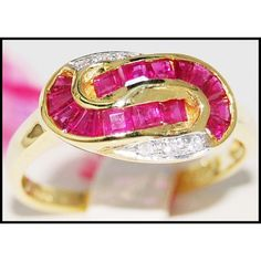 http://rubies.work/0345-sapphire-ring/ 18K Yellow Gold Genuine Gemstone Diamond Ruby Ring by BKGjewels