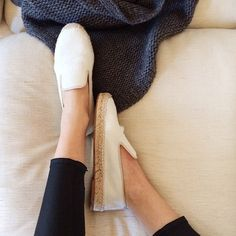 @Samantha / Could I Have That wearing Elyse Walker Los Angeles White Pony Hair Espadrilles