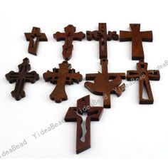 Bulk Small Wooden Crosses | Wholesale - Mixed Designs Wooden Cross Pendants Fit Necklaces ...