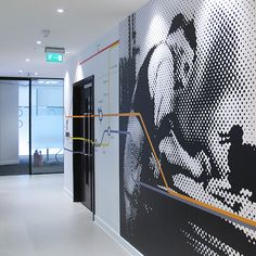 Lego offices, Holborn | Intricately cut frosted vinyl to all interior and exterior glass. Print, cut wall graphics with overlaid cut vinyl. Large black and white and colour wall images. Production and installation by Ltd. Design by Denton Assocs. #Graphics #retail #glass #manifestations #lego