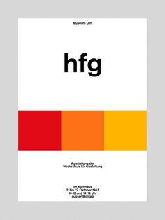 """Herbert Lindinger. """"hfg"""". Poster. 1963"""