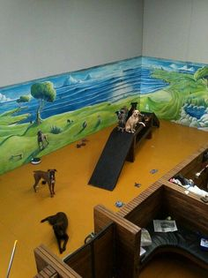 the shapes are so cool for them to climb on Doggy daycare! the shapes are Shares Shelter Dogs, Animal Shelter, Dog Kennel Designs, Kennel Ideas, Pet Shop, Indoor Dog Park, Dog Enrichment, Dog Playground, Dog Spaces
