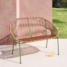 With its fresh palette and groovy, retro shape, the Jambi natural woven garden bench with green frame gives an outdoor space a contemporary update. Buy now at Habitat UK. Folding Garden Chairs, Garden Table And Chairs, Deck Chairs, Outdoor Chairs, Garden Furniture Design, Outdoor Garden Furniture, Rattan Furniture, Modern Outdoor Sofas, Outdoor Spaces