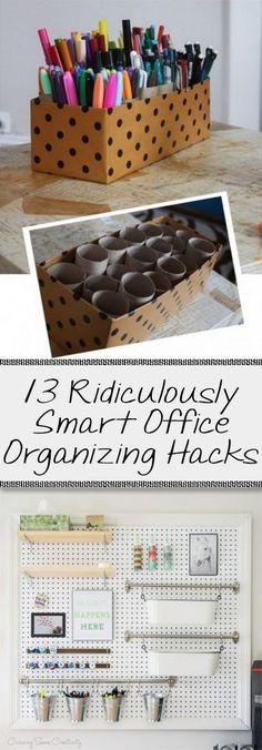 Office organization, small space organization, office decor, DIY office, popular pin, smart office organization, organization hacks, tutorials. #grey_office_decor