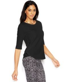 Bar Iii Short-Sleeve Lace-Trim Top