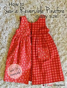 How to Sew a Reversible Pinafore in Any Size - Thread Riding Hood Apron Dress, Diy Dress, Sewing For Kids, Baby Sewing, Cute Girl Outfits, Kids Outfits, Pinafore Dress Pattern, Shweshwe Dresses, Reversible Dress
