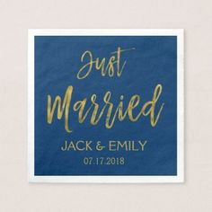 Just Married Navy Blue  and Gold Foil Napkins - gold wedding gifts customize marriage diy unique golden