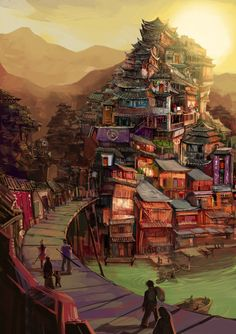 Inspired by Asian architecture. I want to draw a cramped and difficult place to live :D. Hope you enjoy it! Thanks for watching ! Landscape Artwork, Fairytale Photography, Fantasy Artwork, Anime Art Beautiful, City Pictures, Fantasy Art, Anime City, Fantasy Landscape, Fantasy City