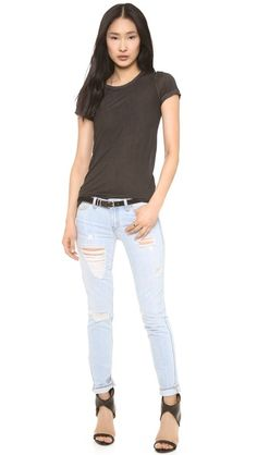 Light colored jeans with black