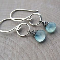 Aqua Chalcedony Ring Drop Earrings in Sterling Silver
