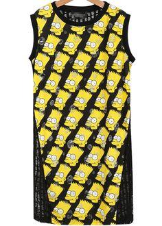 robe motif simpson sans manche