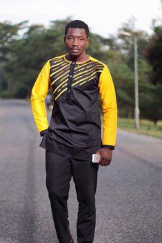 Usure africain jaune et noir pour homme avec de par NayaasDesigns
