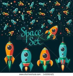 Seamless pattern of space, rocket and stars. Cartoon spaceship icons. Kids elements for scrap-booking. Childish background. Hand drawn vector illustration. by motuwe, via ShutterStock