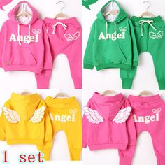 Kids Girls Boys Set Retail 1 Set 2 Pieces 2013 Sports Casual Clothing Suit children's Clothes For Autumn and Winter Angel Wings $13.90 - 14.90