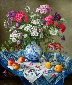 Лидия Даценко. Натюрморт с абрикосами и красной смородиной